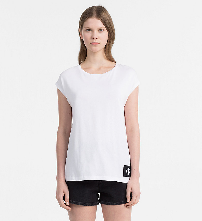 CALVIN KLEIN JEANS Cap-Sleeve T-shirt - WHITE HEATHER / SPECTRA YELLOW - CALVIN KLEIN JEANS WOMEN - main image
