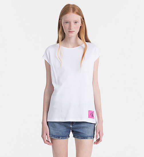 CALVIN KLEIN JEANS Cap-Sleeve T-shirt - BRIGHT WHITE / WILD ORCHID - CALVIN KLEIN JEANS HEAT WAVE - main image