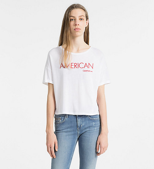 CALVIN KLEIN JEANS Embroidered T-shirt - BRIGHT WHITE - CALVIN KLEIN JEANS TRUE COLOURS - main image