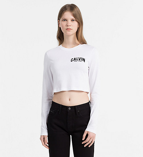 CALVIN KLEIN JEANS Cropped Logo T-shirt - BRIGHT WHITE - CALVIN KLEIN JEANS NEW IN - main image