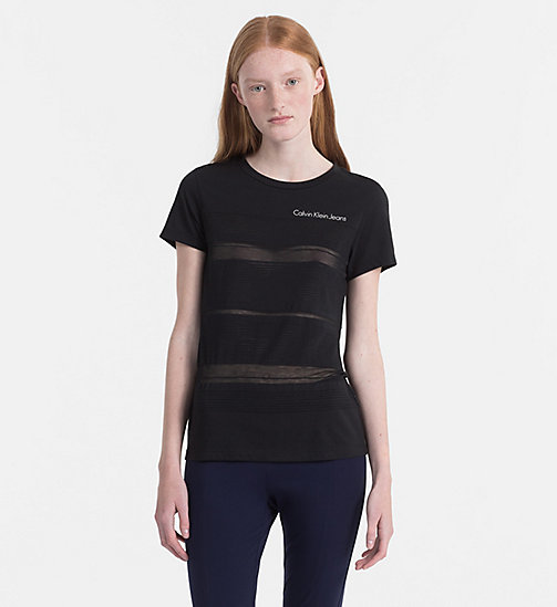 CALVIN KLEIN JEANS Burnout Stripe T-shirt - CK BLACK - CALVIN KLEIN JEANS NEW IN - main image
