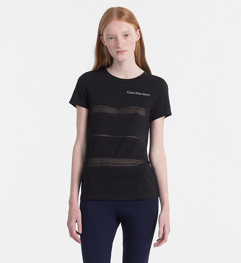 CALVIN KLEIN JEANS Burnout Stripe T-shirt - BRIGHT WHITE - CALVIN KLEIN JEANS WOMEN - main image