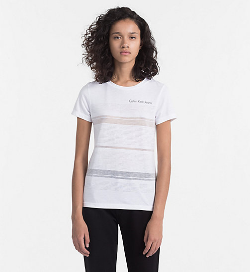 CALVIN KLEIN JEANS Burnout Stripe T-shirt - BRIGHT WHITE - CALVIN KLEIN JEANS NEW IN - main image