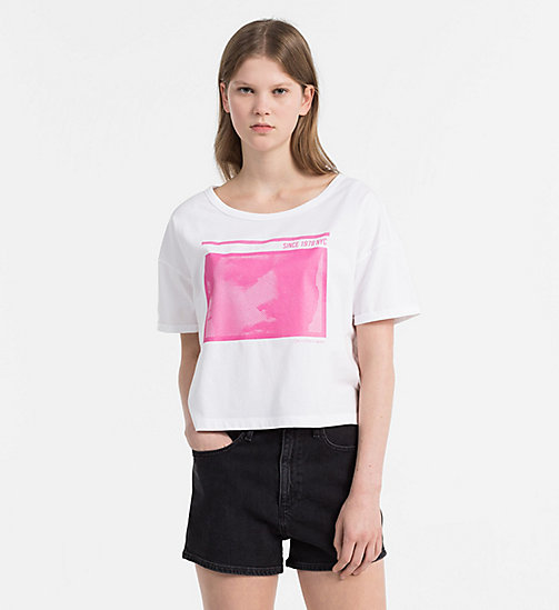 CALVIN KLEIN JEANS Cropped Printed T-shirt - BRIGHT WHITE - CALVIN KLEIN JEANS HEAT WAVE - main image