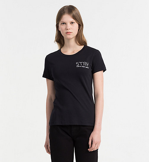 CALVIN KLEIN JEANS Embroidered T-shirt - CK BLACK - CALVIN KLEIN JEANS CLOTHES - main image