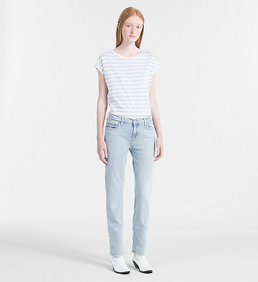 CALVIN KLEIN JEANS Cap-Sleeve Stripe T-shirt - CHAMBRAY BLUE / BRIGHT WHITE - CALVIN KLEIN JEANS CLOTHES - detail image 1