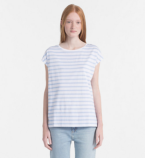 CALVIN KLEIN JEANS Cap-Sleeve Stripe T-shirt - CHAMBRAY BLUE / BRIGHT WHITE - CALVIN KLEIN JEANS CLOTHES - main image