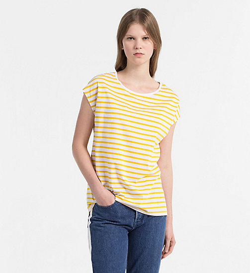 CALVIN KLEIN JEANS Cap-Sleeve Stripe T-shirt - SPECTRA YELLOW / BRIGHT WHITE - CALVIN KLEIN JEANS NEW IN - main image