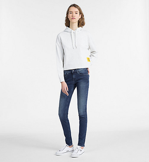 CALVIN KLEIN JEANS Logo Hoodie - WHITE HEATHER / SPECTRA YELLOW -  SWEATSHIRTS - detail image 1