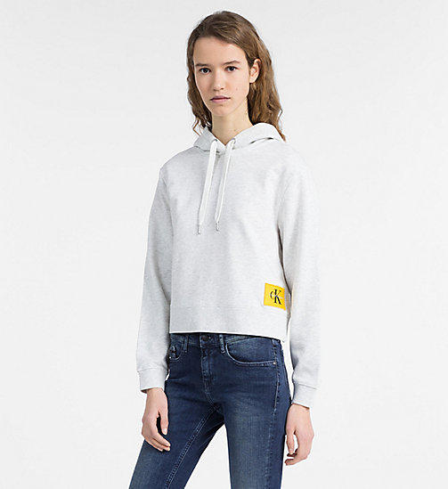 CALVIN KLEIN JEANS Logo Hoodie - WHITE HEATHER / SPECTRA YELLOW - CALVIN KLEIN JEANS CLOTHES - main image