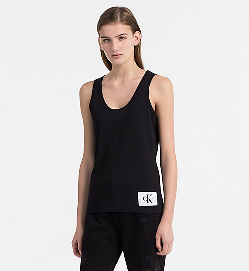 CALVIN KLEIN JEANS Cotton Tank Top - CK BLACK / BRIGHT WHITE - CALVIN KLEIN JEANS T-SHIRTS - main image
