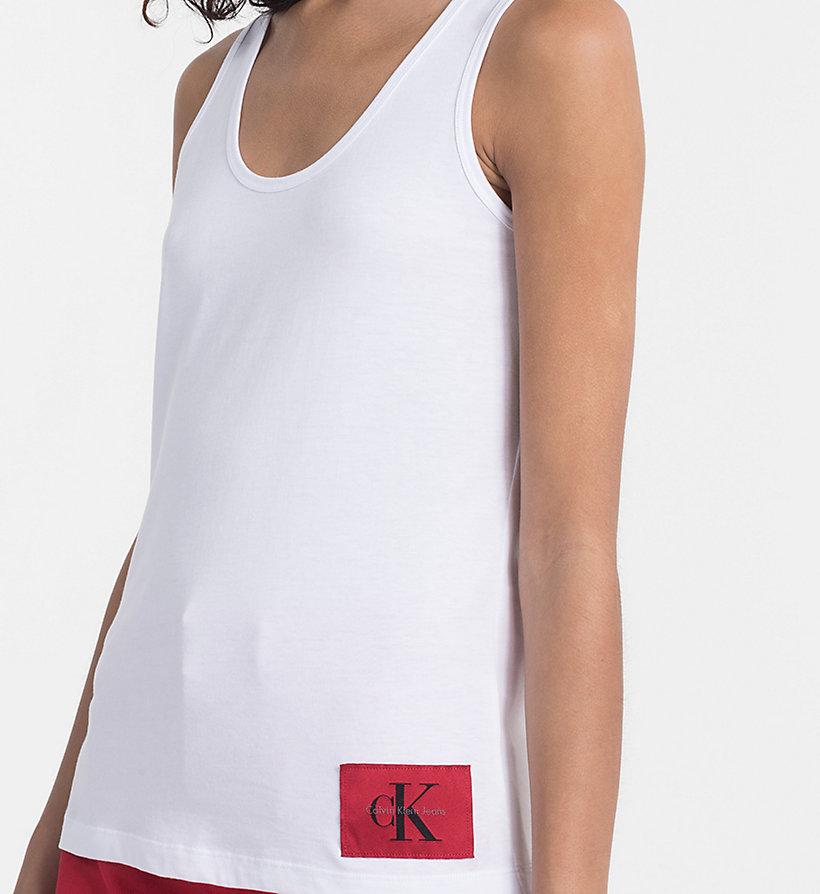 CALVIN KLEIN JEANS Cotton Tank Top - BRIGHT WHITE / CK BLACK - CALVIN KLEIN JEANS WOMEN - detail image 2
