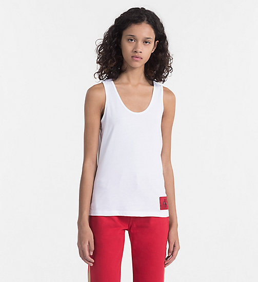 CALVIN KLEIN JEANS Cotton Tank Top - BRIGHT WHITE / TANGO RED - CALVIN KLEIN JEANS NEW IN - main image