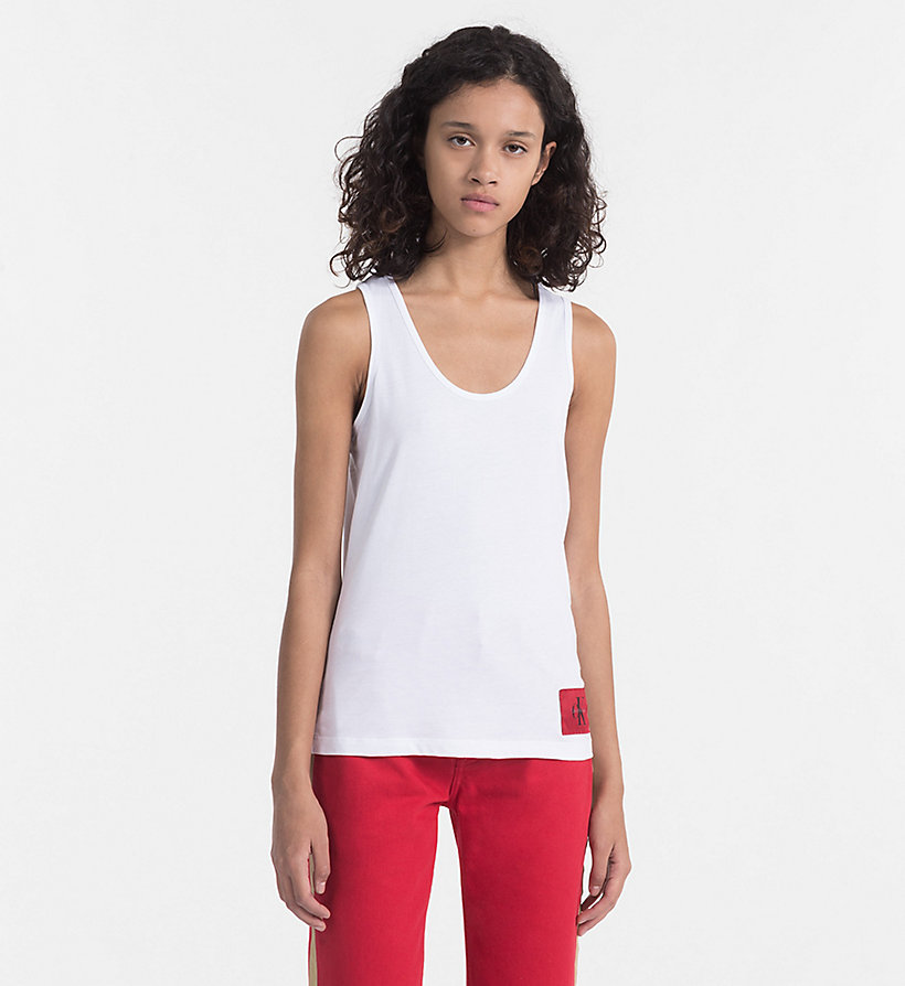 CALVIN KLEIN JEANS Cotton Tank Top - BRIGHT WHITE / CK BLACK - CALVIN KLEIN JEANS WOMEN - main image