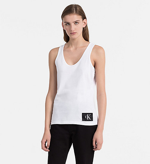 CALVIN KLEIN JEANS Cotton Tank Top - BRIGHT WHITE / CK BLACK - CALVIN KLEIN JEANS CLOTHES - main image