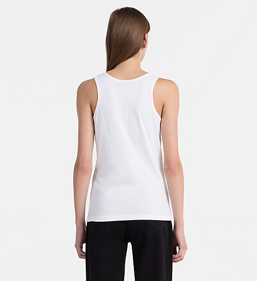 CALVIN KLEIN JEANS Cotton Tank Top - BRIGHT WHITE / WILD ORCHID - CALVIN KLEIN JEANS HEAT WAVE - detail image 1