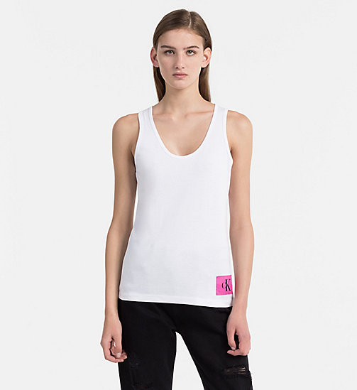 CALVIN KLEIN JEANS Cotton Tank Top - BRIGHT WHITE / WILD ORCHID - CALVIN KLEIN JEANS HEAT WAVE - main image