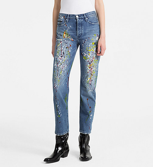 CALVIN KLEIN JEANS High Rise Straight Paint Splatter Jeans - ARTIST BLUE - CALVIN KLEIN JEANS #MYCALVINS WOMEN - main image