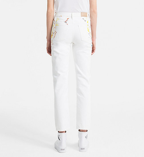 CALVIN KLEIN JEANS High Rise Straight Paint Splatter Jeans - STERLING WHITE - CALVIN KLEIN JEANS NEW IN - detail image 1
