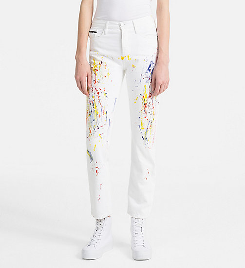 CALVIN KLEIN JEANS High Rise Straight Paint Splatter Jeans - STERLING WHITE - CALVIN KLEIN JEANS NEW IN - main image
