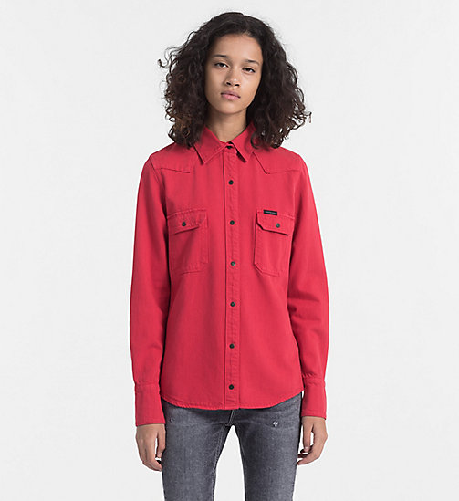 CALVIN KLEIN JEANS Western Denim Shirt - TANGO RED RGD - CALVIN KLEIN JEANS TRUE COLOURS - main image