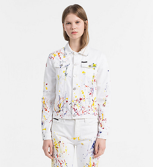 CALVIN KLEIN JEANS Paint Splatter Denim Jacket - STERLING WHITE - CALVIN KLEIN JEANS NEW IN - main image
