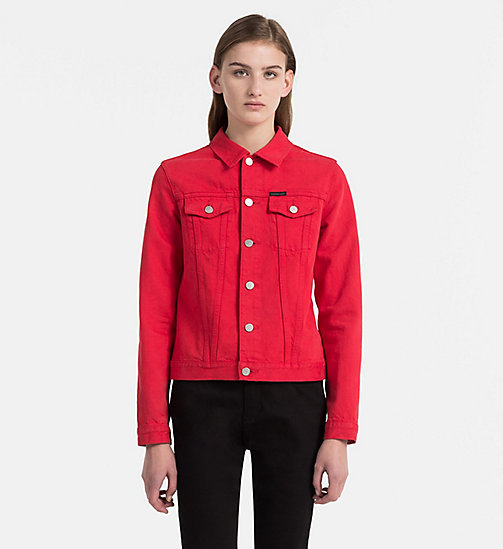 CALVIN KLEIN JEANS Denim Trucker Jacket - TANGO RED RGD - CALVIN KLEIN JEANS TRUE COLOURS - main image