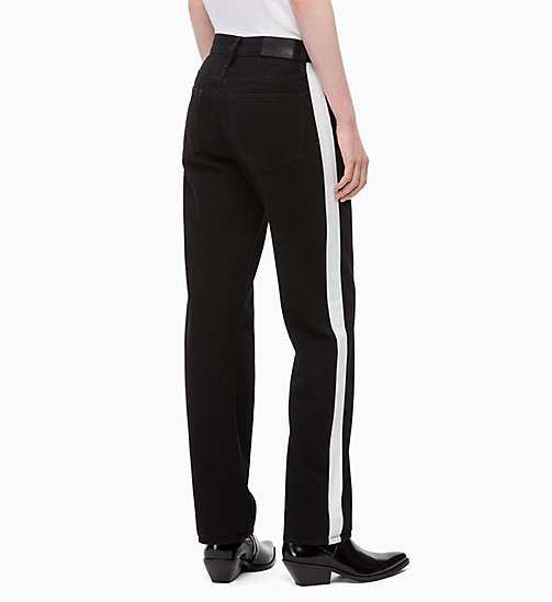 CALVIN KLEIN JEANS High Rise Straight Taped Jeans - BLACK/WHITE TAPE - CALVIN KLEIN JEANS STRAIGHT JEANS - detail image 1