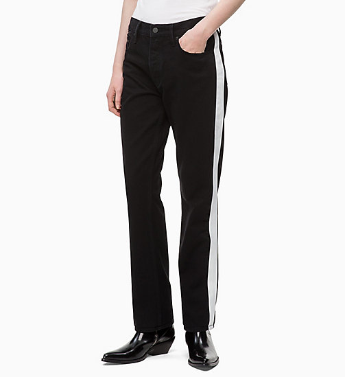 CALVIN KLEIN JEANS High Rise Straight Taped Jeans - BLACK/WHITE TAPE - CALVIN KLEIN JEANS NEW IN - main image