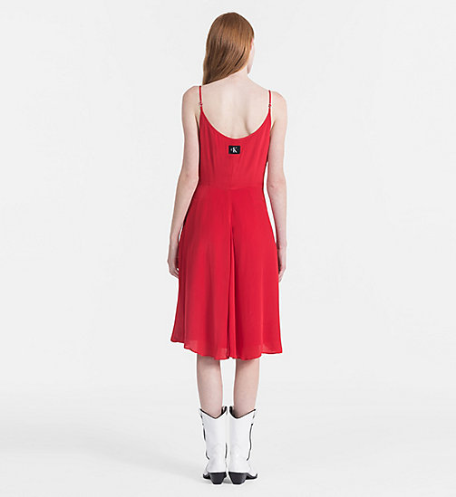 CALVIN KLEIN JEANS Crepe Slip Dress - TANGO RED - CALVIN KLEIN JEANS CLOTHES - detail image 1