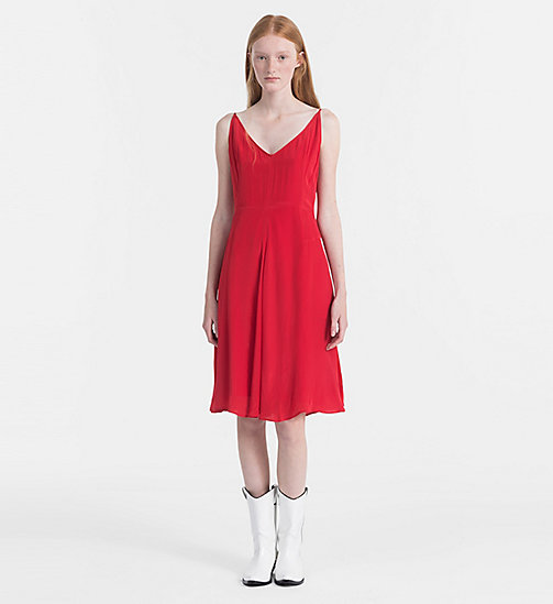 CALVIN KLEIN JEANS Crepe Slip Dress - TANGO RED - CALVIN KLEIN JEANS CLOTHES - main image