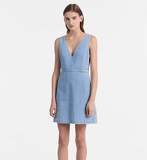 CALVIN KLEIN JEANS Fitted Denim Dress - LIGHT INDIGO - CALVIN KLEIN JEANS DRESSES & SKIRTS - main image