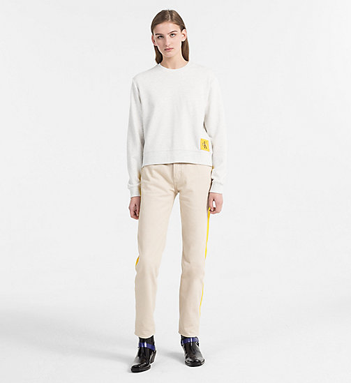 CALVIN KLEIN JEANS Cropped Sweatshirt - WHITE HEATHER / SPECTRA YELLOW - CALVIN KLEIN JEANS NEW IN - detail image 1