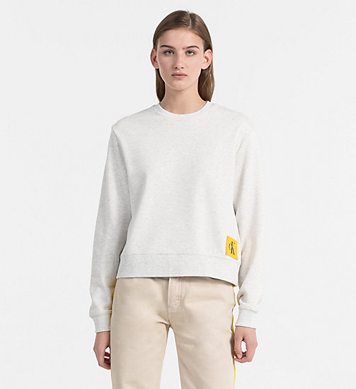 CALVIN KLEIN JEANS Cropped Sweatshirt - WHITE HEATHER / SPECTRA YELLOW - CALVIN KLEIN JEANS NEW IN - main image