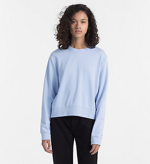 CALVIN KLEIN JEANS Cropped Sweatshirt - CHAMBRAY BLUE / BRIGHT WHITE - CALVIN KLEIN JEANS NEW IN - main image
