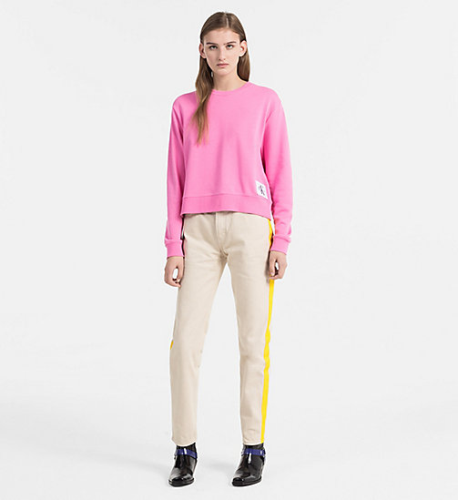 CALVIN KLEIN JEANS Cropped Sweatshirt - WILD ORCHID / BRIGHT WHITE - CALVIN KLEIN JEANS CLOTHES - detail image 1