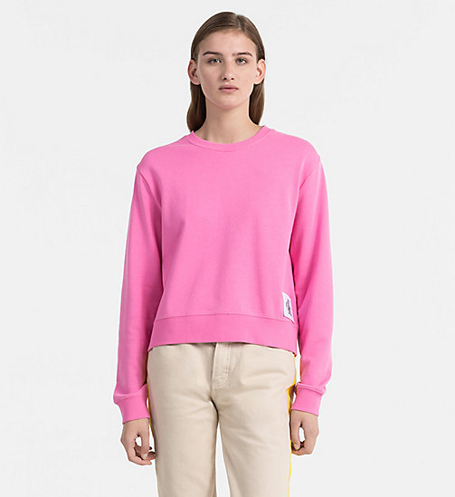 CALVIN KLEIN JEANS Cropped Sweatshirt - WILD ORCHID / BRIGHT WHITE - CALVIN KLEIN JEANS CLOTHES - main image