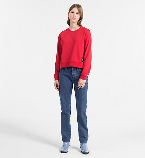 CALVIN KLEIN JEANS Cropped Sweatshirt - TANGO RED / CK BLACK - CALVIN KLEIN JEANS NEW IN - detail image 1