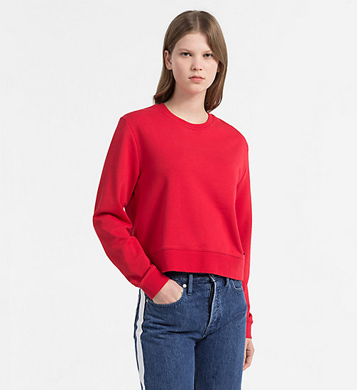 CALVIN KLEIN JEANS Cropped Sweatshirt - TANGO RED / CK BLACK - CALVIN KLEIN JEANS NEW IN - main image
