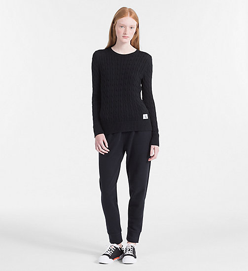 CALVIN KLEIN JEANS Pima Cotton Cable Jumper - CK BLACK - CALVIN KLEIN JEANS PACK YOUR BAG - detail image 1