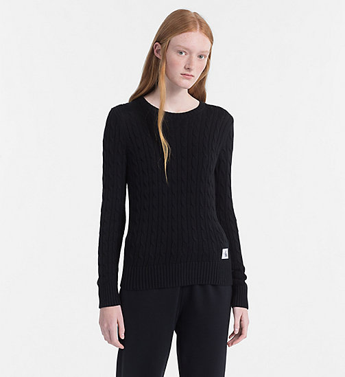 CALVIN KLEIN JEANS Pima Cotton Cable Jumper - CK BLACK - CALVIN KLEIN JEANS PACK YOUR BAG - main image