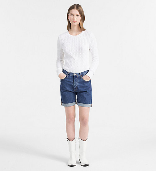 CALVIN KLEIN JEANS Pima Cotton Cable Jumper - BRIGHT WHITE - CALVIN KLEIN JEANS CLOTHES - detail image 1