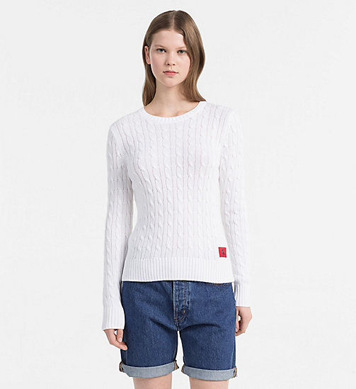 CALVIN KLEIN JEANS Pima Cotton Cable Sweater - BRIGHT WHITE - CALVIN KLEIN JEANS NEW IN - main image