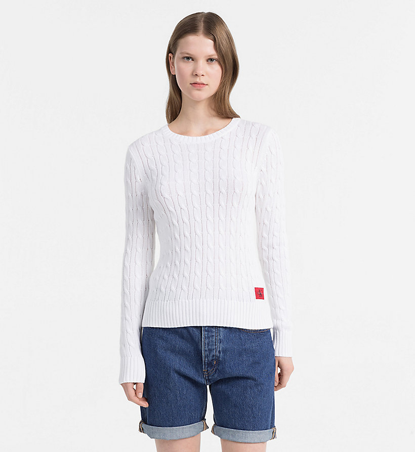 CALVIN KLEIN JEANS Pima Cotton Cable Jumper - SPECTRA YELLOW - CALVIN KLEIN JEANS WOMEN - main image