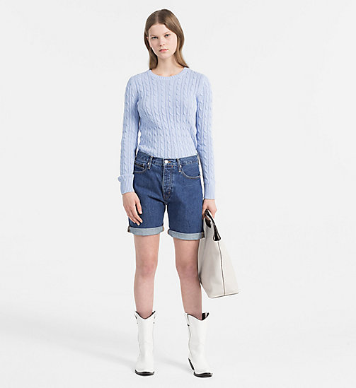 CALVIN KLEIN JEANS Pima Cotton Cable Jumper - CHAMBRAY BLUE - CALVIN KLEIN JEANS CLOTHES - detail image 1