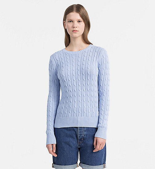 CALVIN KLEIN JEANS Pima Cotton Cable Sweater - CHAMBRAY BLUE - CALVIN KLEIN JEANS NEW IN - main image