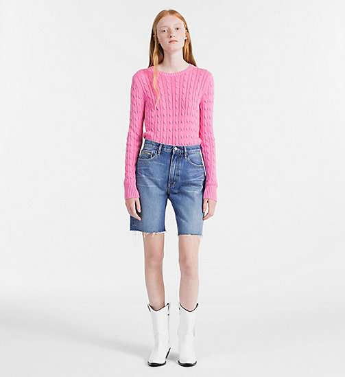 CALVIN KLEIN JEANS Pima Cotton Cable Sweater - WILD ORCHID - CALVIN KLEIN JEANS NEW IN - detail image 1