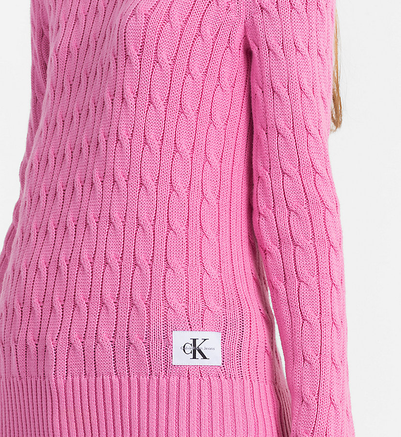 CALVIN KLEIN JEANS Pima Cotton Cable Jumper - CHAMBRAY BLUE - CALVIN KLEIN JEANS WOMEN - detail image 2