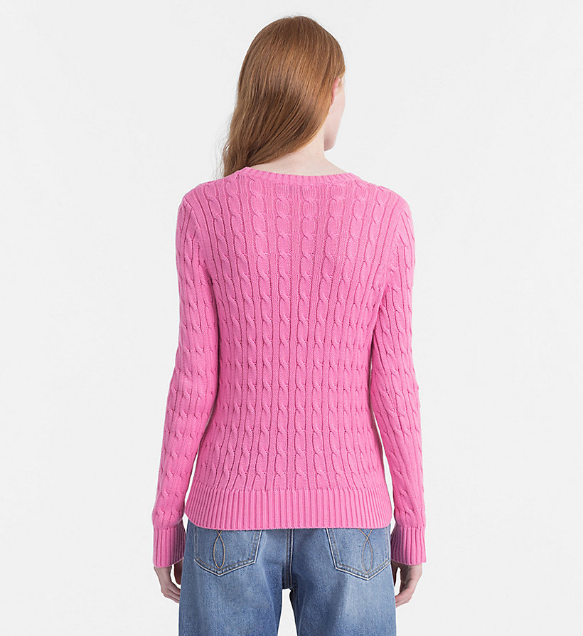 CALVIN KLEIN JEANS Pima Cotton Cable Jumper - CHAMBRAY BLUE - CALVIN KLEIN JEANS WOMEN - detail image 3