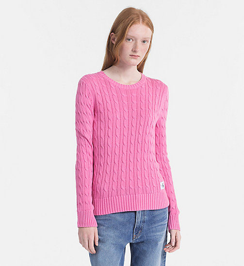 CALVIN KLEIN JEANS Pima Cotton Cable Sweater - WILD ORCHID - CALVIN KLEIN JEANS NEW IN - main image